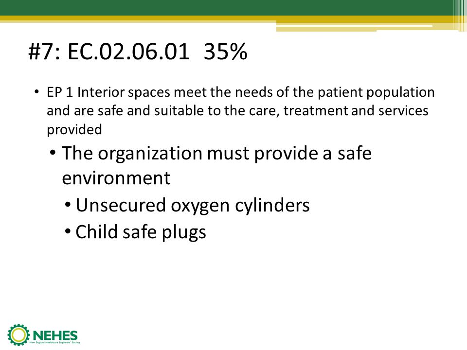 #7: EC.02.06.01 35% The organization must provide a safe environment