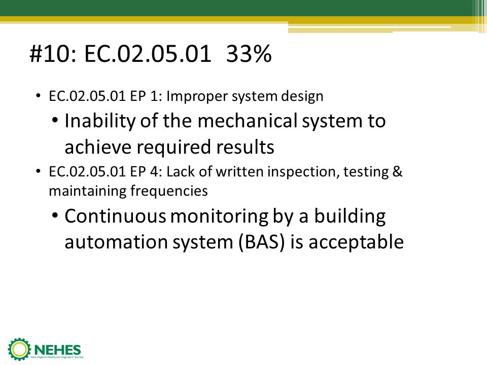 #10: EC.02.05.01 33% EC.02.05.01 EP 1: Improper system design. Inability of the mechanical system to achieve required results.