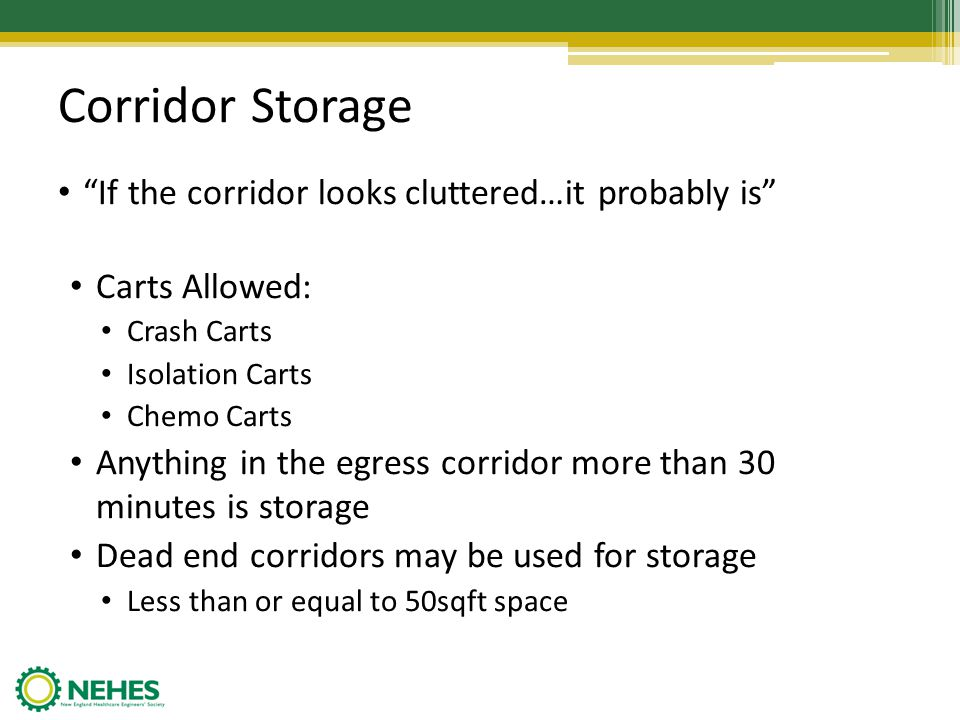 Corridor Storage If the corridor looks cluttered…it probably is