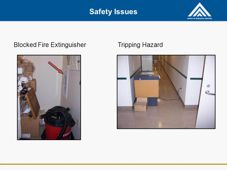 Safety Issues Blocked Fire Extinguisher Tripping Hazard