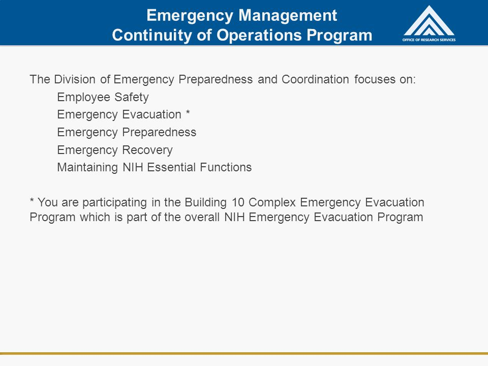 Emergency Management Continuity of Operations Program
