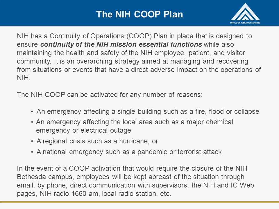 The NIH COOP Plan