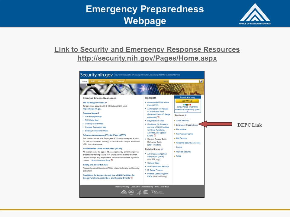 Emergency Preparedness Webpage
