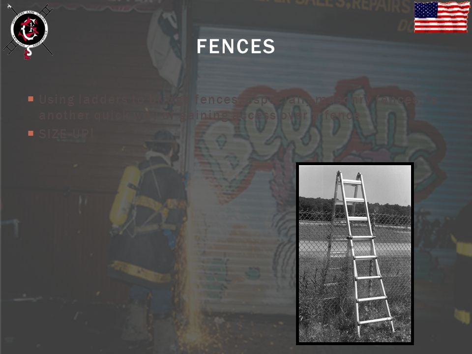 FENCES Using ladders to bridge fences, especially masonry fences, is another quick way of gaining access over a fence.