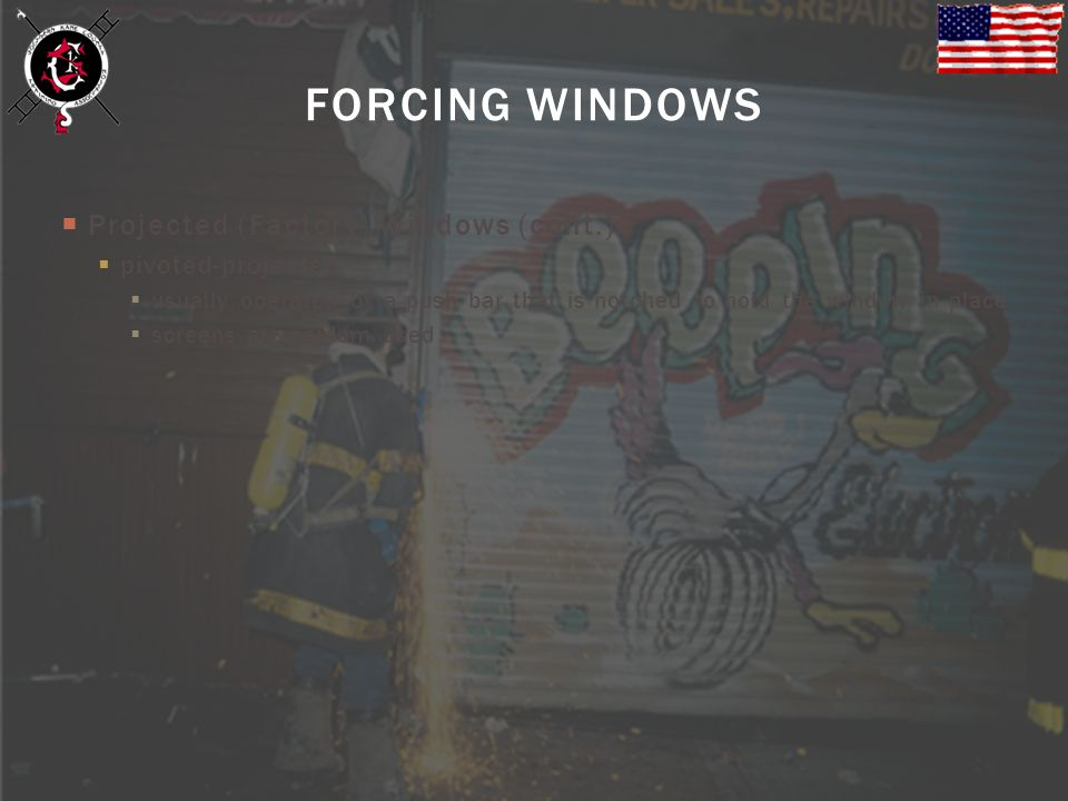 FORCING WINDOWS Projected (Factory) Windows (cont.) pivoted-projected