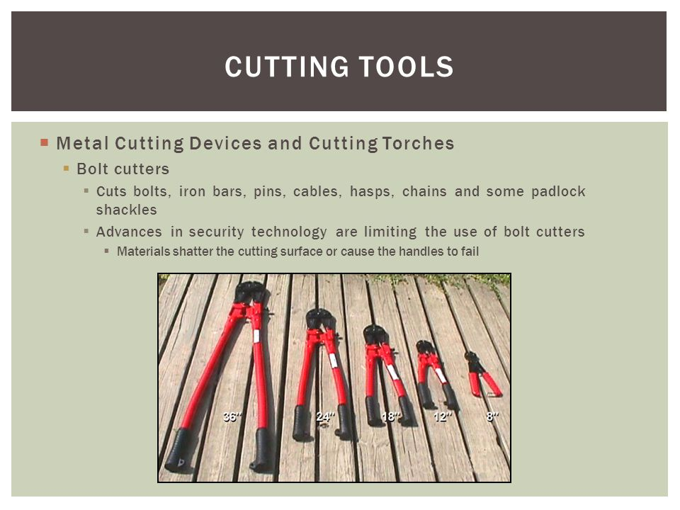 CUTTING TOOLS Metal Cutting Devices and Cutting Torches Bolt cutters