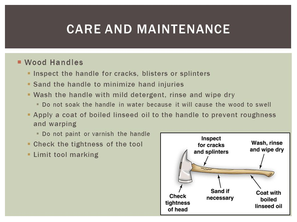 CARE AND MAINTENANCE Wood Handles