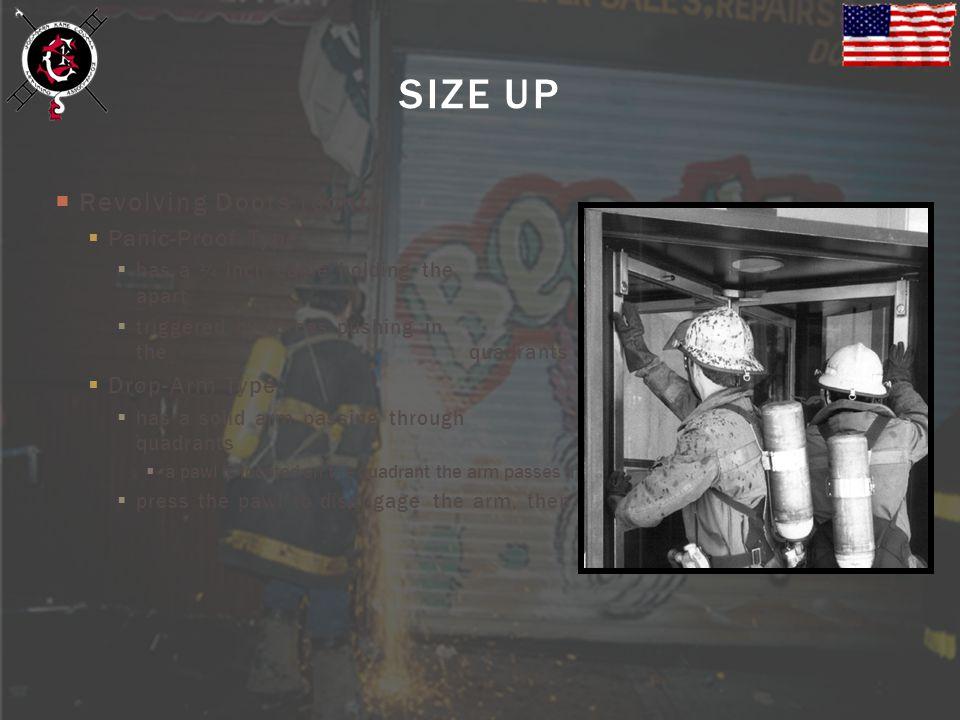 SIZE UP Revolving Doors (cont.) Panic-Proof Type Drop-Arm Type