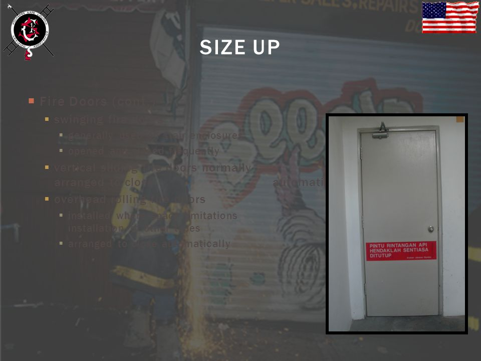 SIZE UP Fire Doors (cont.) swinging fire doors