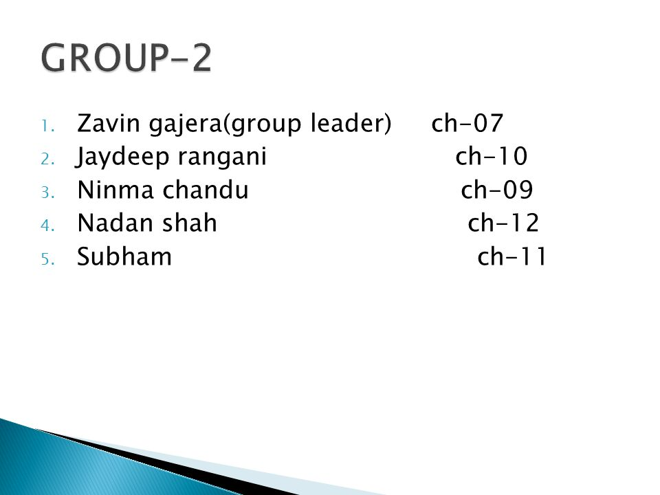 GROUP-2 Zavin gajera(group leader) ch-07 Jaydeep rangani ch-10