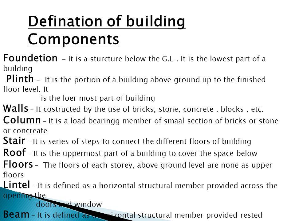 Defination of building Components
