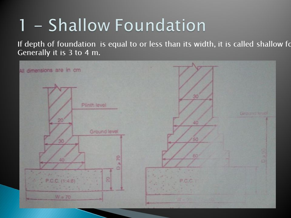 1 - Shallow Foundation If depth of foundation is equal to or less than its width, it is called shallow foundations.