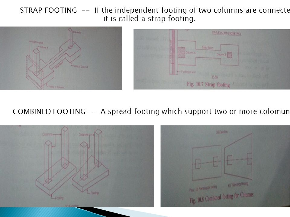STRAP FOOTING -- If the independent footing of two columns are connected by a beam