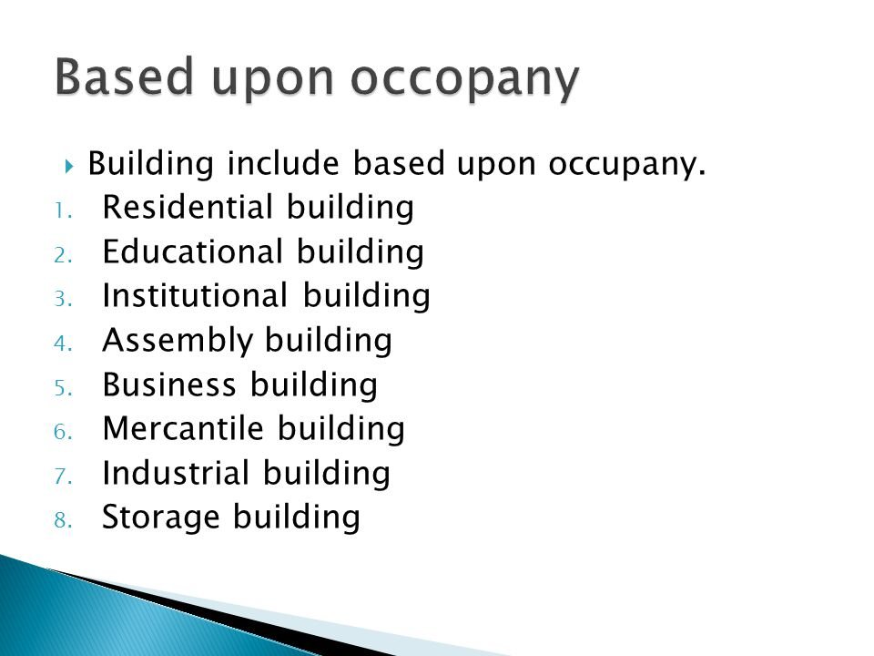 Based upon occopany Building include based upon occupany.