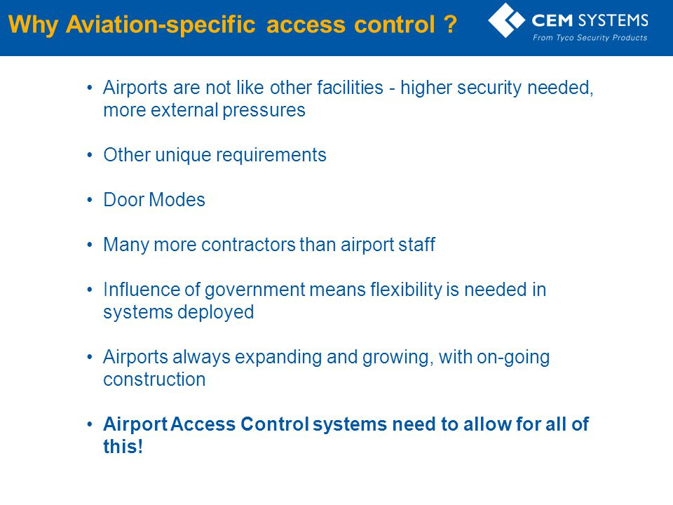 Why Aviation-specific access control