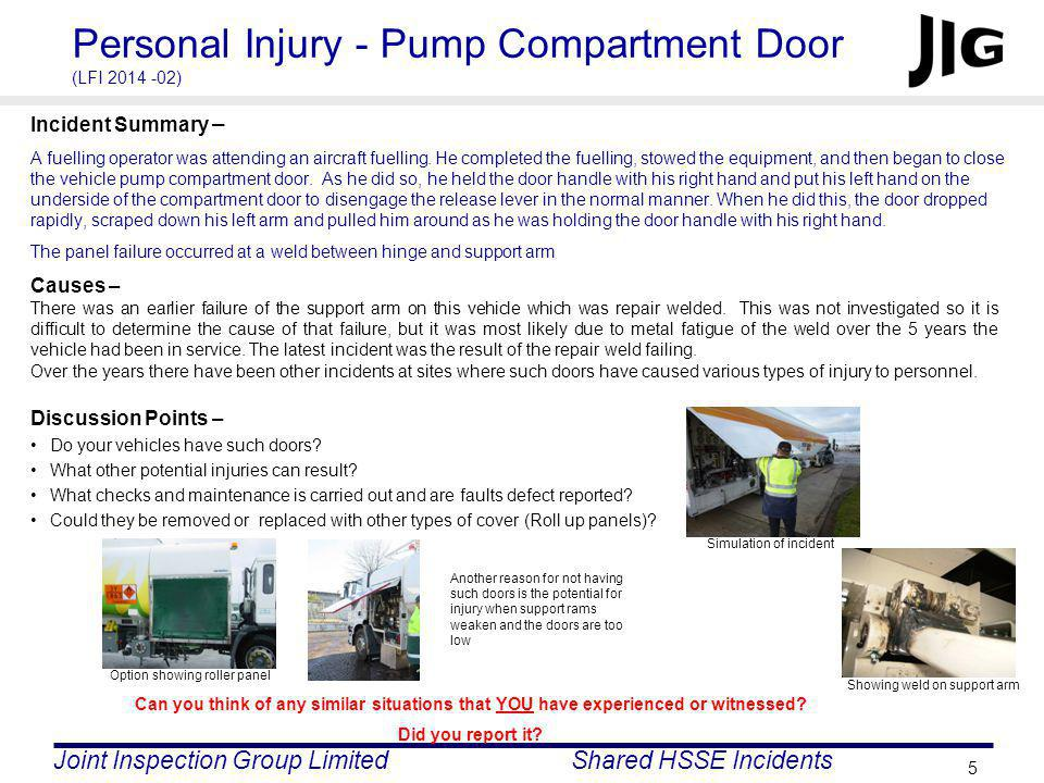 Personal Injury - Pump Compartment Door (LFI 2014 -02)