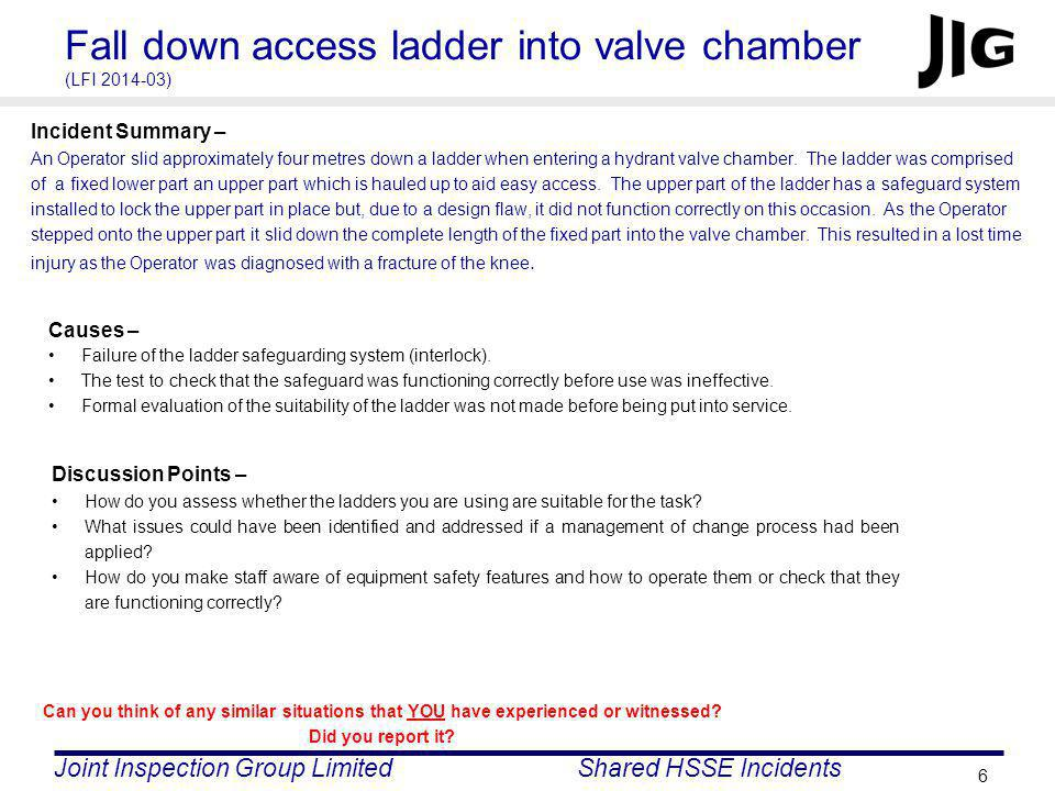 Fall down access ladder into valve chamber (LFI 2014-03)