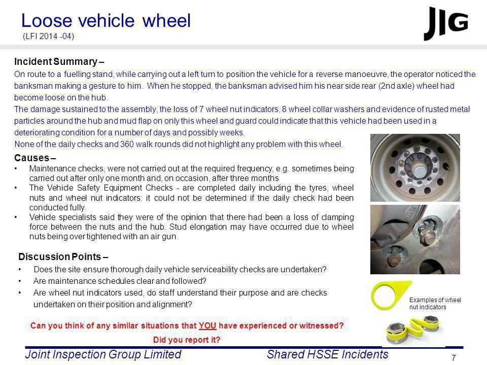 Loose vehicle wheel (LFI 2014 -04)