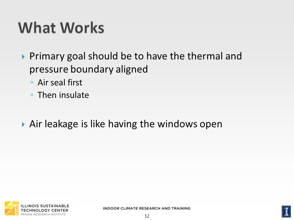 What Works Primary goal should be to have the thermal and pressure boundary aligned. Air seal first.