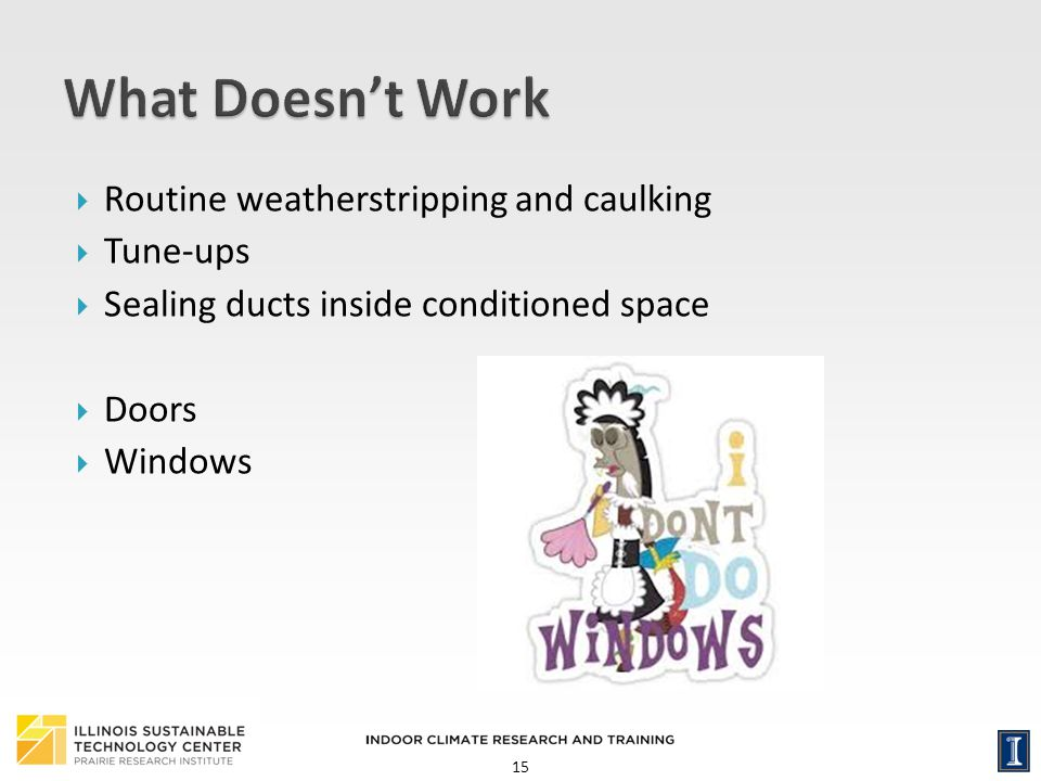 What Doesn't Work Routine weatherstripping and caulking Tune-ups