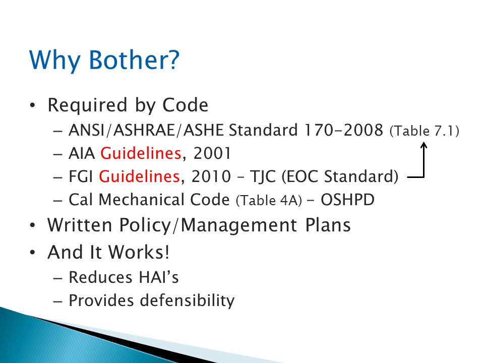 Why Bother Required by Code Written Policy/Management Plans