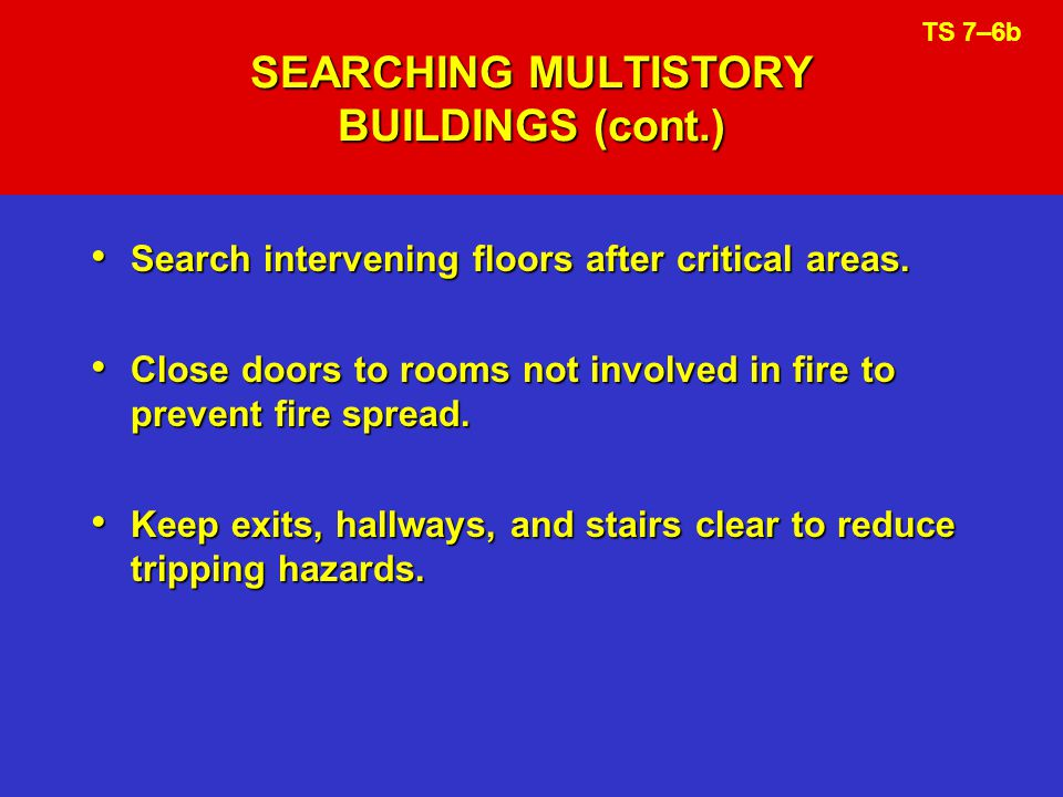SEARCHING MULTISTORY BUILDINGS (cont.)