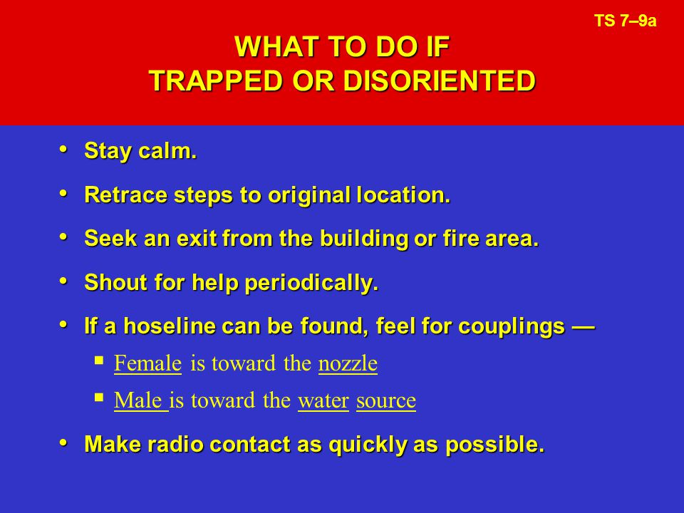 WHAT TO DO IF TRAPPED OR DISORIENTED