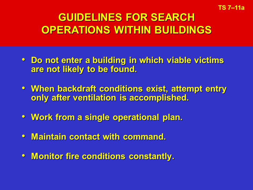 GUIDELINES FOR SEARCH OPERATIONS WITHIN BUILDINGS