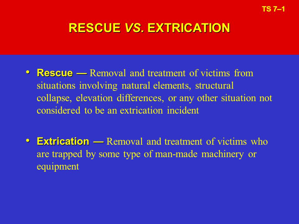 RESCUE VS. EXTRICATION TS 7–1.