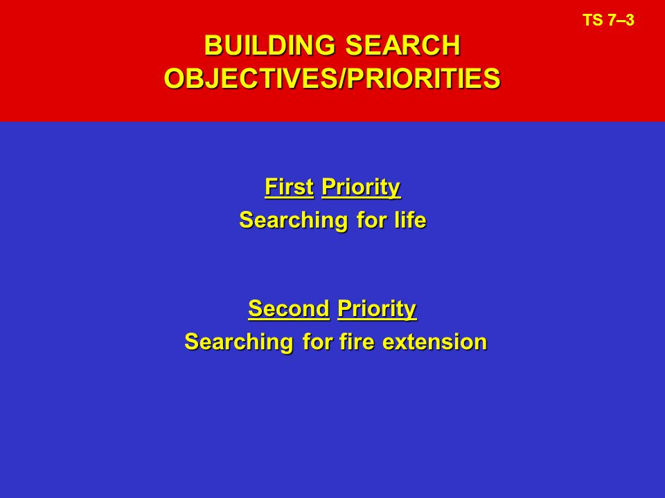 BUILDING SEARCH OBJECTIVES/PRIORITIES