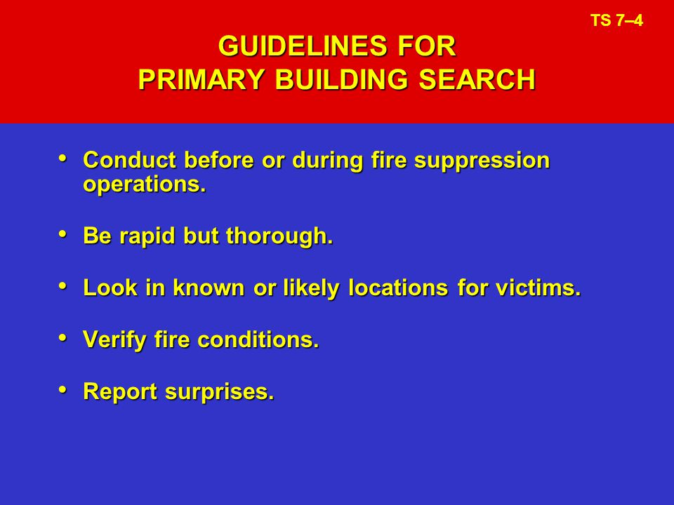 GUIDELINES FOR PRIMARY BUILDING SEARCH