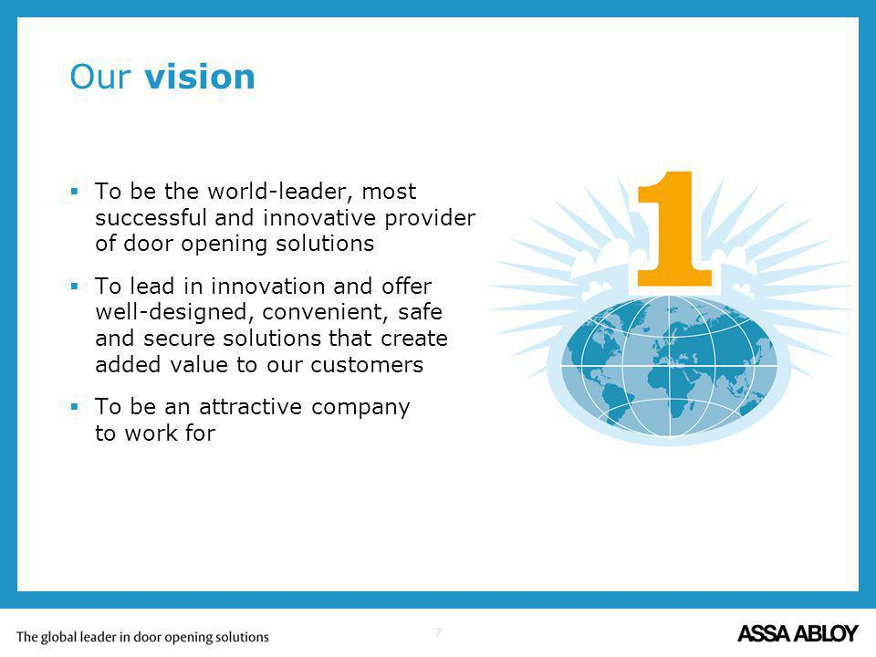 Our vision To be the world-leader, most successful and innovative provider of door opening solutions.