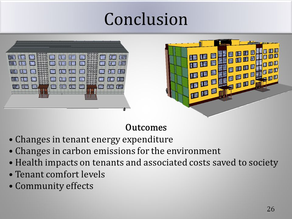 Conclusion Outcomes • Changes in tenant energy expenditure