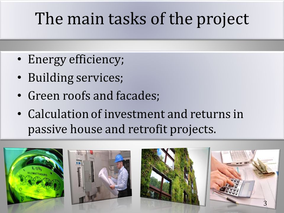 The main tasks of the project
