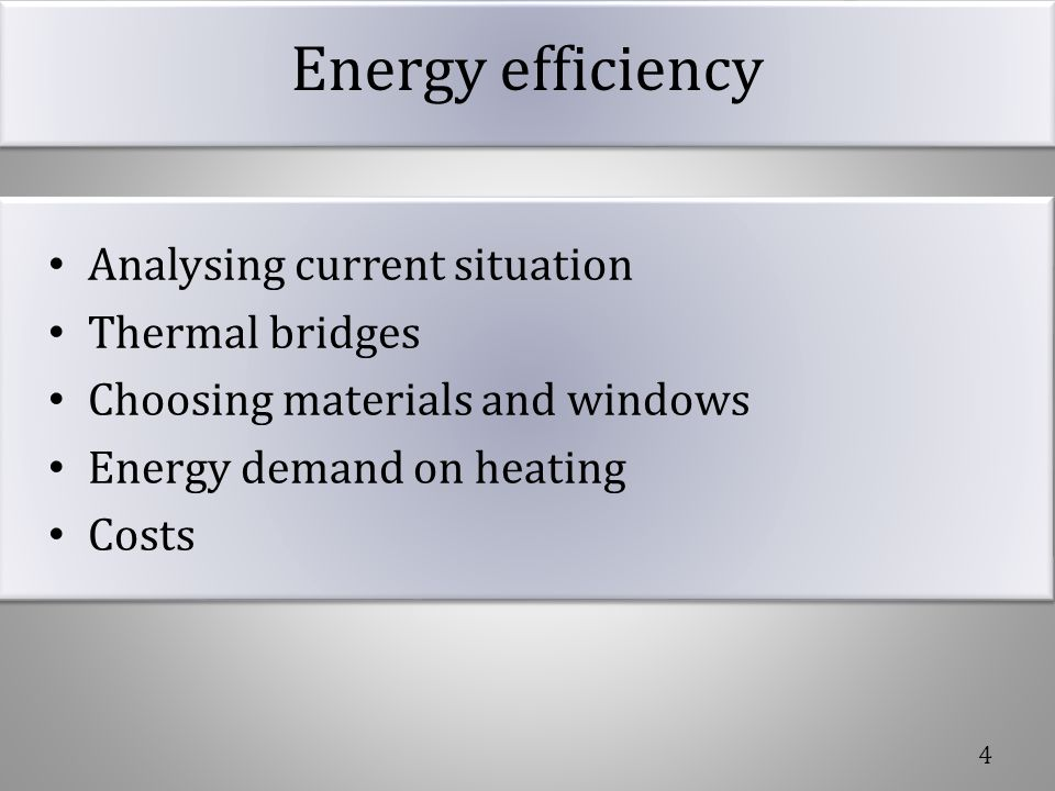 Energy efficiency Analysing current situation Thermal bridges