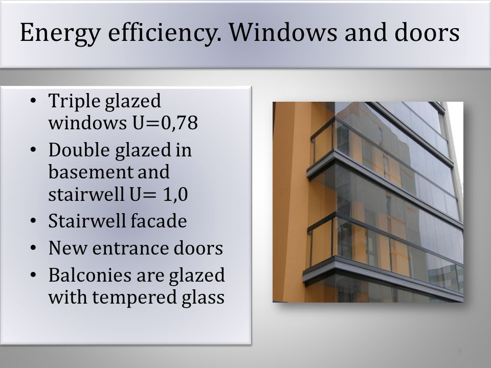 Energy efficiency. Windows and doors
