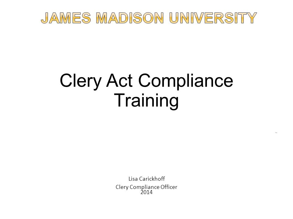 Clery Act Compliance Training