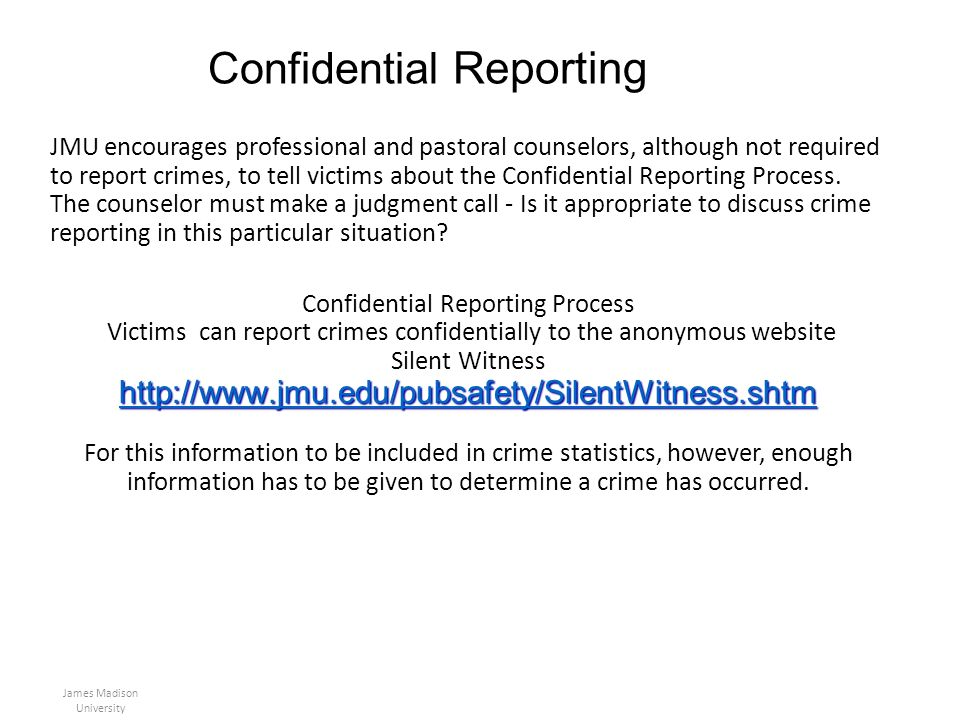 Confidential Reporting