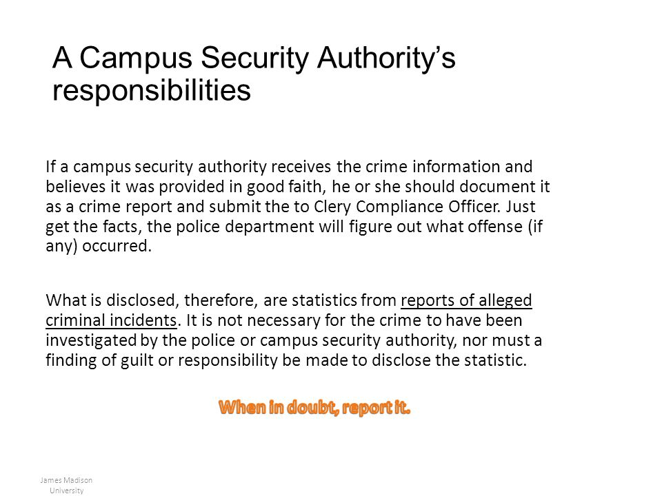 A Campus Security Authority's responsibilities