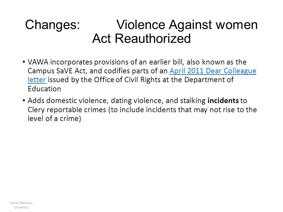 Changes: Violence Against women Act Reauthorized