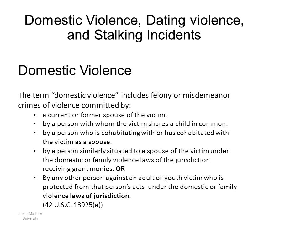 Domestic Violence, Dating violence, and Stalking Incidents