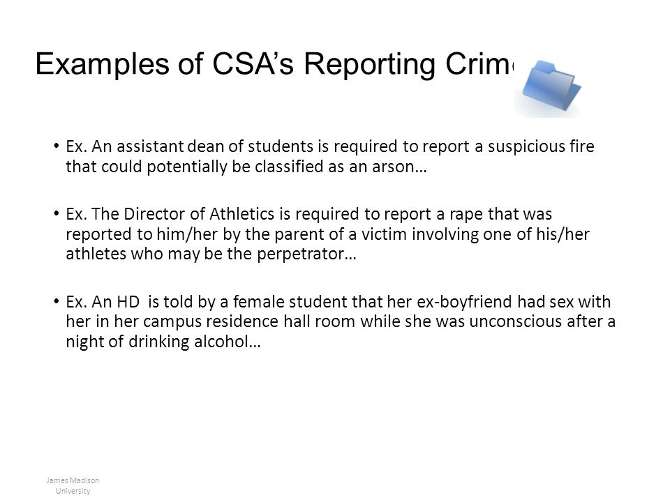 Examples of CSA's Reporting Crimes
