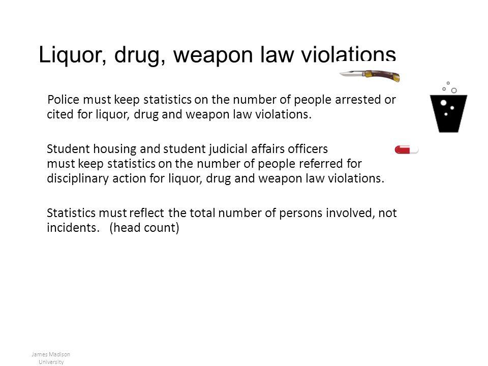 Liquor, drug, weapon law violations