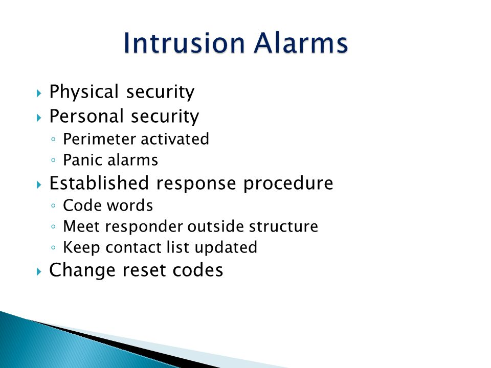 Intrusion Alarms Physical security Personal security