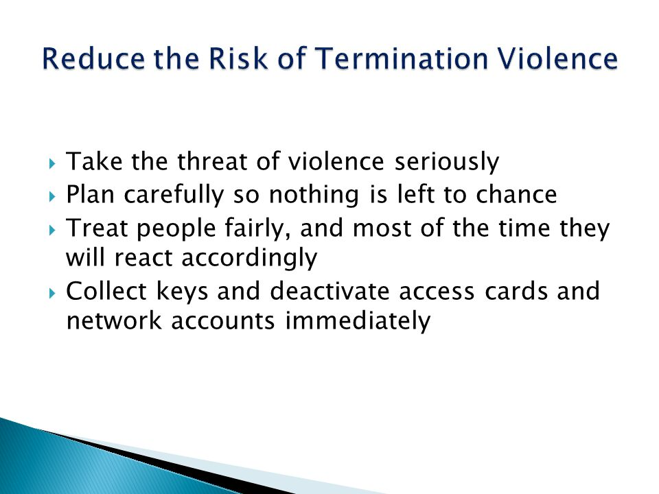 Reduce the Risk of Termination Violence