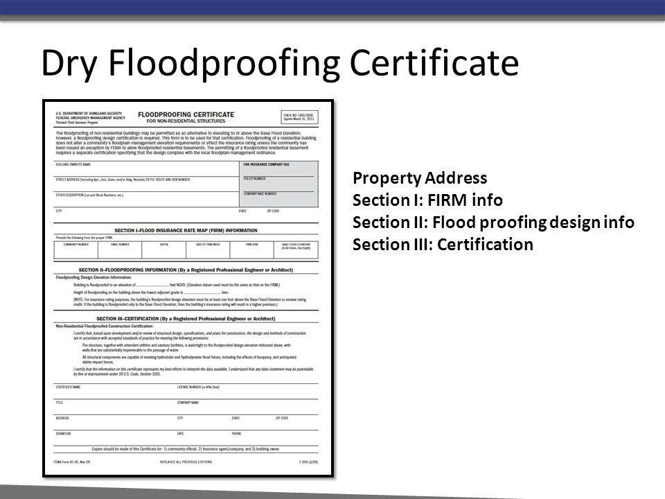Dry Floodproofing Certificate