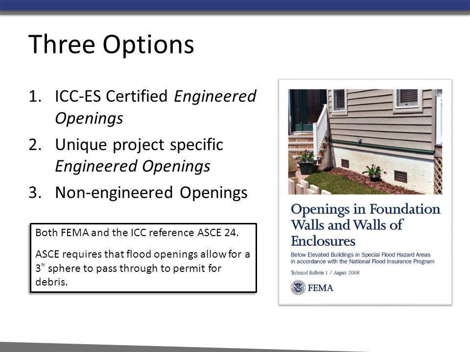Three Options ICC-ES Certified Engineered Openings