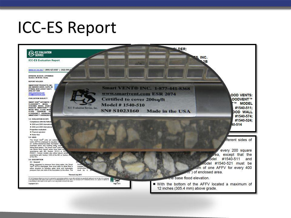 ICC-ES Report Reference the ICC-ES report in the catalog