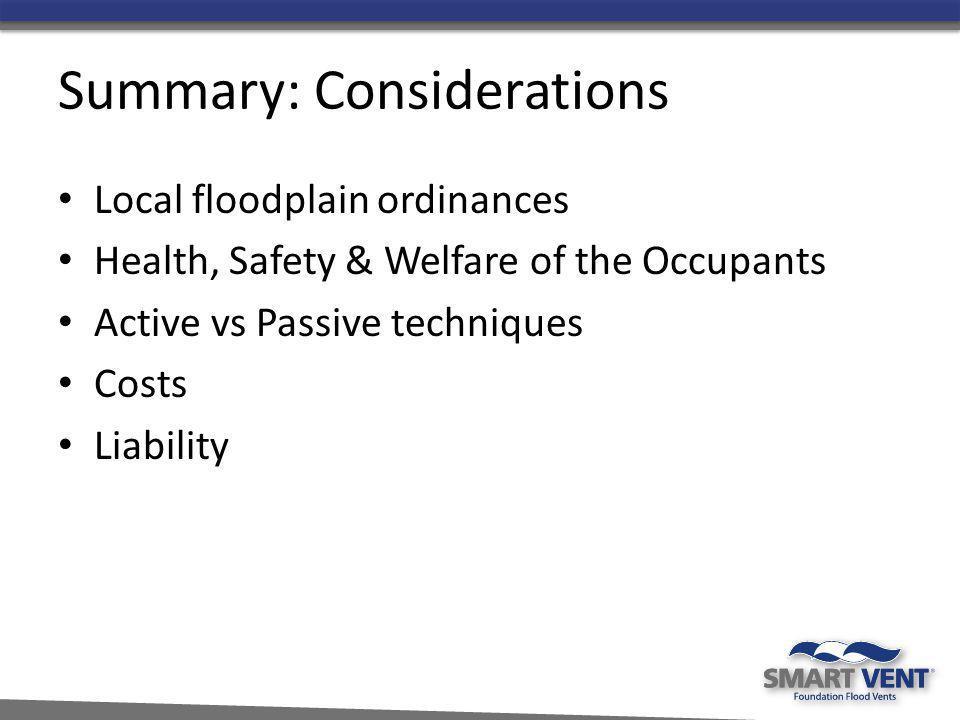 Summary: Considerations
