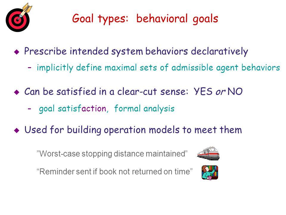 Goal types: behavioral goals